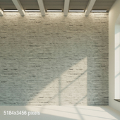 Brick wall. The old painted brick is white. 20