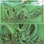 Dragon, picture, decor on the wall, panel, stucco