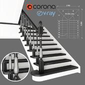 Two-staircase staircase with zaubezhnymi steps, 1 version