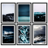 A series of posters with the sea and waves.
