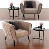 Oreas Arm Chair With Made Aula Coffe Table