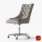 MARTINE ADJUSTABLE LEATHER DESK CHAIR - PEWTER
