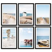 Набор плакатов с морем и пляжем.