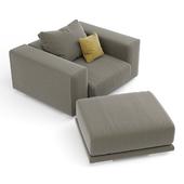 Modern chair and pouffe