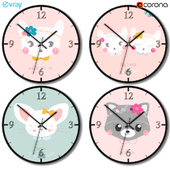 A set of wall clocks for decorating a children's room for a girl.