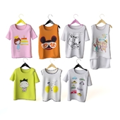 Set of children's t-shirts on shoulders
