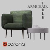 Nakki armchair + Skirt coffee table