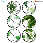 A set of wall clocks