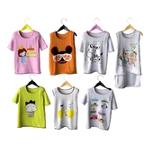 Set of children's t-shirts on shoulders (set 1)