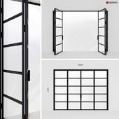 Metal door-accordion in Loft style