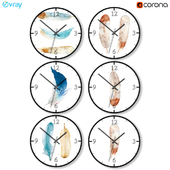 A set of wall clocks in Scandinavian style.