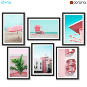 Tropical posters with Miami beaches in pink style.