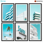 A series of posters with the architecture of Miami