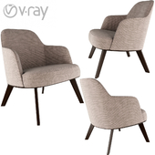 Jane Fabric armchair Poliform wood base