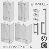 Glass shower cabins, designer and a set of handles