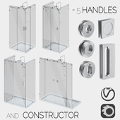 Sliding glass shower cabins, designer and handle set