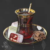 Turkish tea with lucum and cinnamon