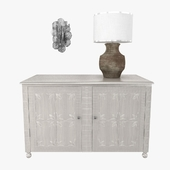 STUDIO A Lily Pad Wall Sconce and custom made cabinet and table lamp