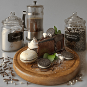 Kitchen decor set with cofee and cheesecake
