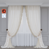 A curtain with flowers