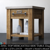 ZINC-TOP MERCANTILE SIDE TABLE 22sq