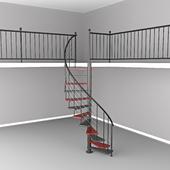 Round stairs up the mezzanine