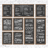 Cafe chalk boards