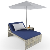 Chaise lounge with umbrella
