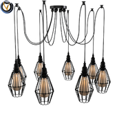 Industrial Wire Guard 8 Bulbs Multi Light Pendant