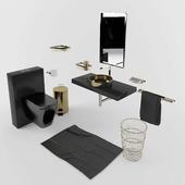 Black & Gold bathroom accesories