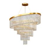 Gold Plated Spiral Crystal Designer Chandelier