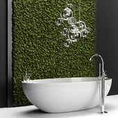 Bathroom set with moss
