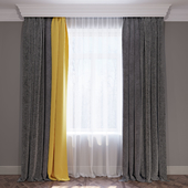 """Set of curtains """"Yellow and Chevron"""""""