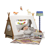 Domayne tee pee-bed with crate & barrel decor