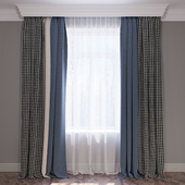 Curtains blue beige and houndstooth set of curtains 01