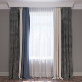 Curtains blue beige and houndstooth curtain set 02