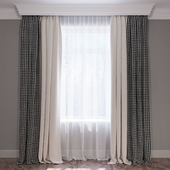 Set of Curtains beige and houndstooth curtains