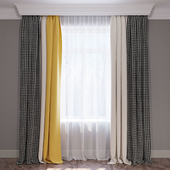 """Set of curtains """"Yellow beige and crow's feet"""" (Curtains yellow beige and houndstooth) 01"""
