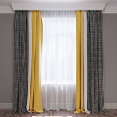 """Set of curtains """"Yellow beige and goose paw"""" (Curtains yellow beige and houndstooth) 02"""