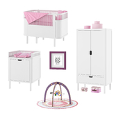 Furniture for children's bedroom Sebra bed, wardrobe, changing unit, baby gym