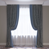 Curtains blue and houndstooth curtain set