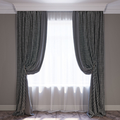 Curtains Gray and crow's foot Curtains gray and houndstooth