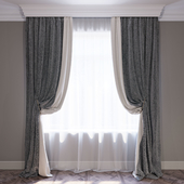 """Set of curtains """"Beige and Chevron"""" (Curtain beige and chevron)"""
