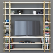 TV rack with decor