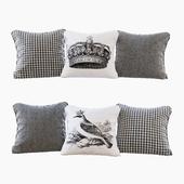 A set of pillows with prints: bird, crown, chevron and goose paw (Pillows bird crown chevron and houndstooth)