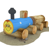 Locomotive of logs for children's playgrounds