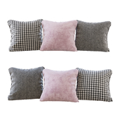 A set of pillows: pink velvet, chevron and goose paw (Pillows pink chevron and houndstooth)