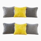 A set of pillows: yellow velvet, chevron and goose paw (Pillows yellow chevron and houndstooth)