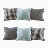 A set of pillows: blue velvet, chevron and goose paw (Pillows blue velvet chevron and houndstooth)