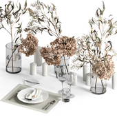 Table setting with dry plants